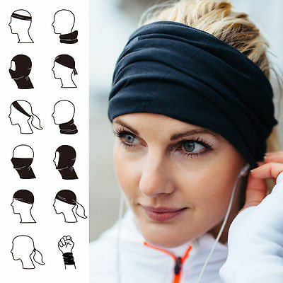 Men Women Elastic Sports Headband Wide Hair Band Yoga Head Wrap Wristband Black
