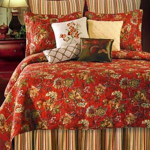Red Toile Full Queen Quilt Set French Country Florentine