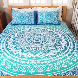 Ombre Mandala Indian Duvet Doona Cover Throw Cotton Quilt Blanket Cover Bedding