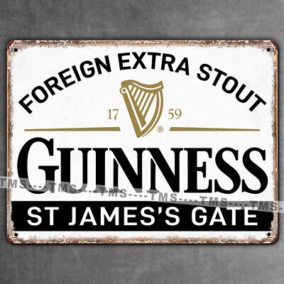 GUINNESS STOUT BEER KITCHEN METAL SIGN BAR VINTAGE RETRO TIN PLAQUE MAN CAVE PUB