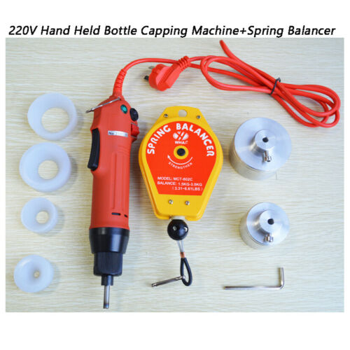 220V Hand Held Electric Bottle Capping Machine Screw Capper+Spring Balancer