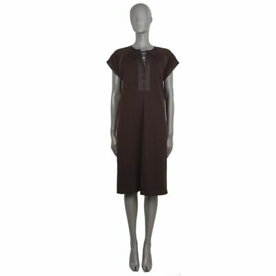 56981 auth Bottega Veneta marron wool Cap Sleeve Lace-Up Shift Dress 44 L