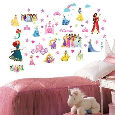 Disney Prinzessinnen 3D Wandtattoo Wandaufkleber Kinder Decoration 70X35cmX2 ()