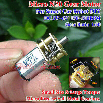 Dc 3v 5v 6v 350rpm Micro N20 Full Metal Gearbox Gear Motor Reducer Diy Car Robot