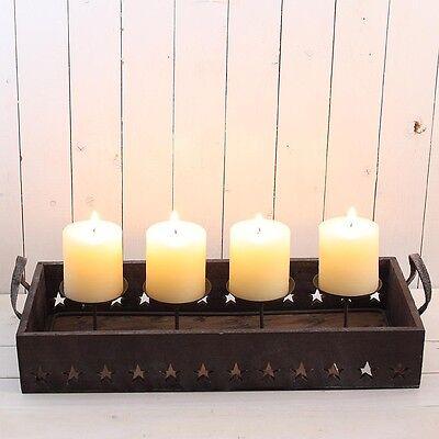 Adventsgesteck Tablett Holz mit Sterne und Metallgestell für 4 Kerzen NEU