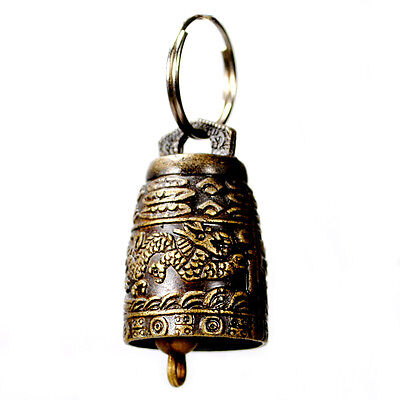 BRASS DRAGON BELL KEY CHAIN Ring Temple Feng Shui Charm