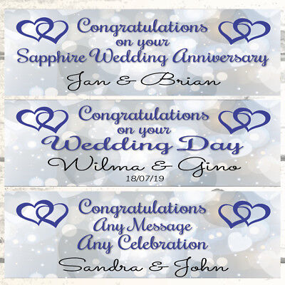 Personalised Anniversary Banners (2 PERSONALISED HEARTS JOINED WEDDING BANNERS, SAPPHIRE 45TH WEDDING)