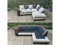 Fabric brown and cream/beige corner sofa can be delivered