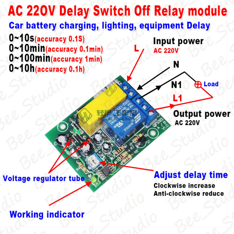 ac 220v 230v delay timing timer delay switch turn off. Black Bedroom Furniture Sets. Home Design Ideas