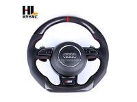 Audi multi function flat bottom steering wheel