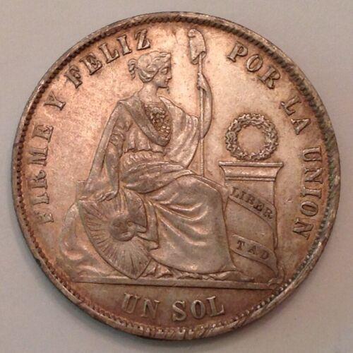 - 1872 YJ Peru Silver One Sol
