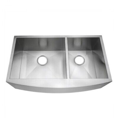 """AKDY Handcrafted All-in-One Farmhouse Apron Front 33"""" x 20"""" 2-Bowl Kitchen Sink"""