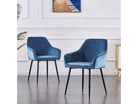 2x blue velvet chairs