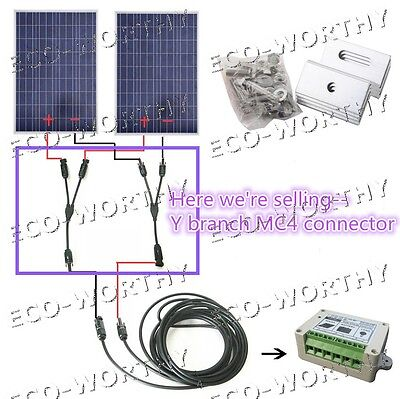 2 Panel Connector Y Branch Solar Extension Cable Mc4 Connector For Solar Panel