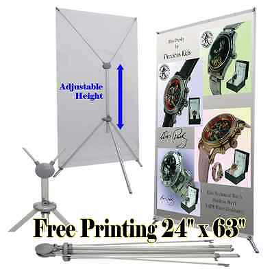 Grasshopper X Banner Stand 24 X 63 Free Graphic Print Trade Show Display Popup