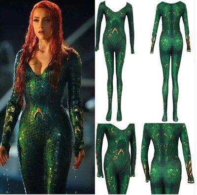 Mera Costume (Women Kids Movie Aquaman Mera Queen Cosplay Costume Zentai Bodysuit)