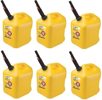 6 Midwest 8610 5 Gallon Yellow Poly Diesel Fuel Cans W Flameshield Spout