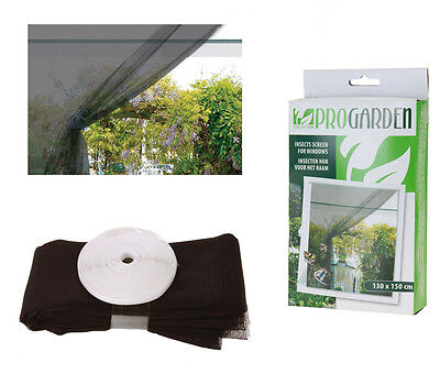 Mosquito Net Fly and Insect Screen for Windows Black 130cm x 150cm
