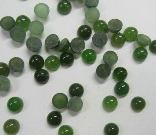 6pcs 4mm Round Natural British Columbia BC Nephrite Jade Cabochon Gemstones Cab