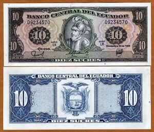 Ecuador-10-Sucres-1988-P-121-UNC-Pre-USD