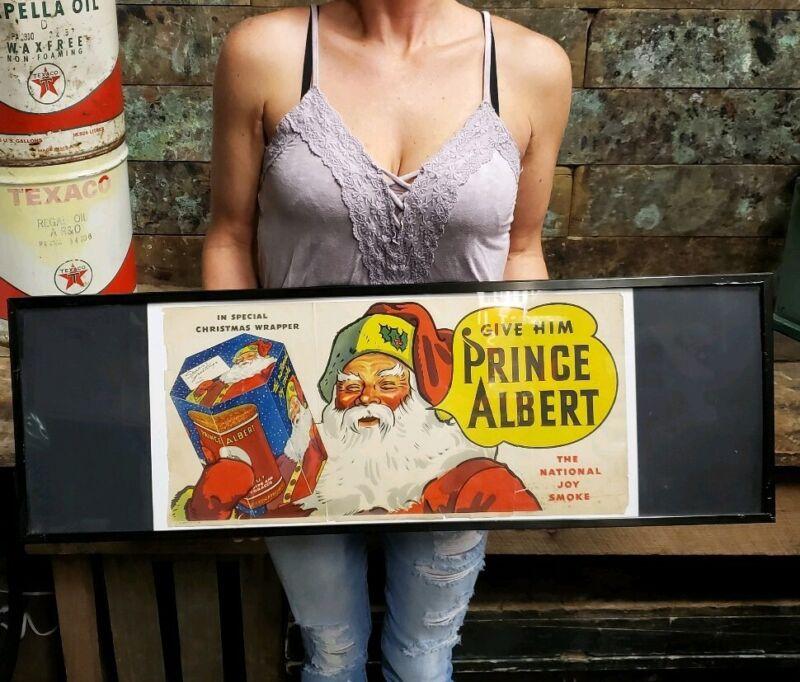 1936 Santa Christmas Prince Albert tobacco Vintage Framed Advertising