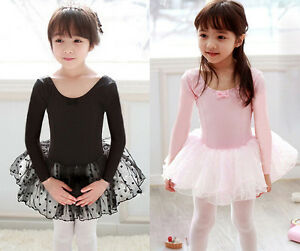 Pink-Black-Girl-Ballet-Tutu-Dance-Costume-Long-Sleeve-Leotard-Dress-Party-Skirt