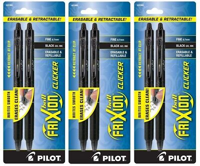 6x Pilot Frixion Ball Clicker Erasable Black Gel Ink Pens Fine 0.7mm Retractable
