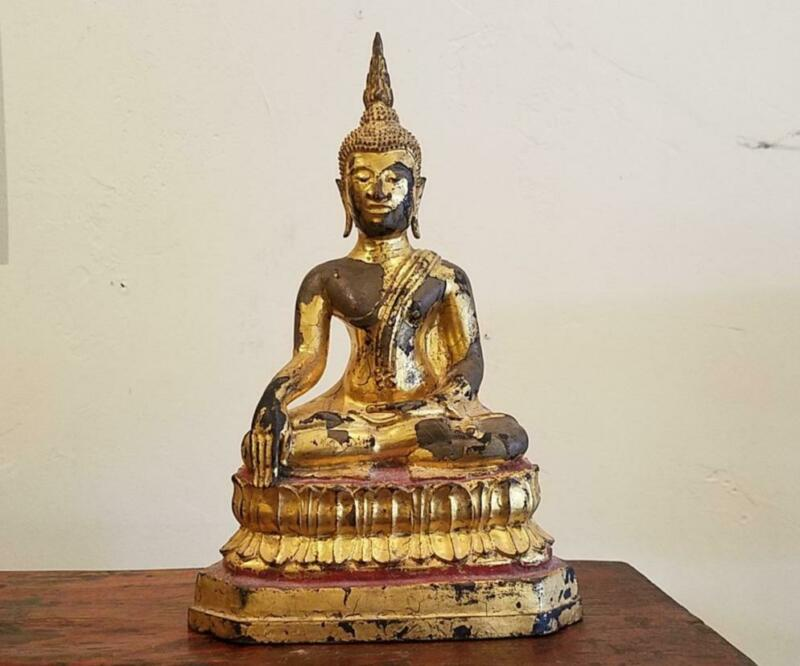 Amazing Antique Thai Sukothai Style Lacquered and Gilt Bronze Buddha, Circa 1900