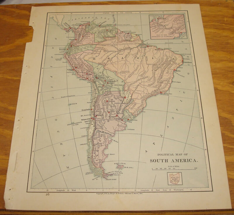 1887 Harpers Antique COLOR Map/SOUTH AMERICA (Political)