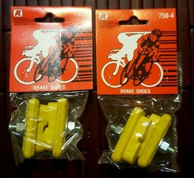 NOS 2 Pair of yellow Bicycle Brake Shoes for bmx fixie old school Skyway HARO GT 2 Bicycle Brake Shoes