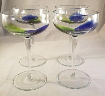 Color Splash Blue and Green Sorbet/Champagne Glasses Set of 4