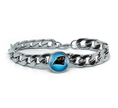 Carolina Panthers Gifts (Carolina Panthers Silver Mens Curb Link Chain Bracelet Football Gift)