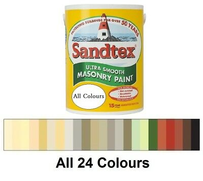 Sandtex -  Masonry Paint 5L - Ultra Smooth - Quality Waterproof - All 24 Colours