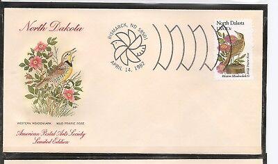 US SC # 1986 State Birds And Flowers ( North Dakota ) FDC. HF Cachet .