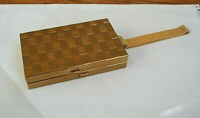Vintage Gold Tone Metal Basket Weave Cigarette Case and Makeup Holder