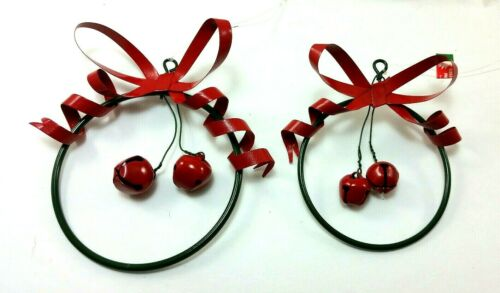 Wire Wreath Christmas Tree Ornaments With Bells Set of 10 New