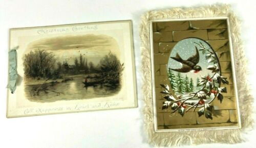 2-Antique Louis Prang,Tuck, De La Rue -Fringe Christmas Card & Mary D Brine Poem