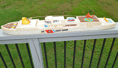 VINTAGE MATTEL VERTIBIRD COAST GUARD SHIP STYROFOAM PLAYSET MOTORIZED HELICOPTER