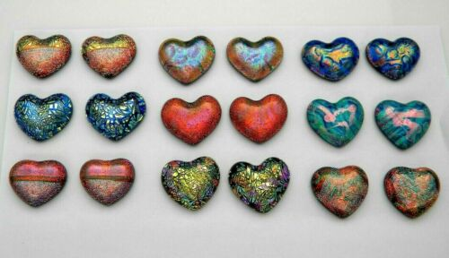 PREMIUM SMALL HEART Lot of 18 pcs handmade DICHROIC earrings FUSED GLASS (BF10)