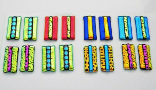 For dangle earrings Lot 16 pcs HANDMADE pendant DICHROIC FUSED GLASS (M24) CABS