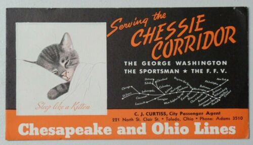 Chesapeake & Ohio Lines Chessie Corridor, Toledo Rail Road Kitten Ink Blotter