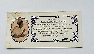 Vintage 1970's Table Card Restaurant La Louisiane at the Orly Hilton France