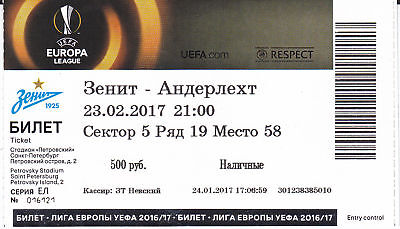 Ticket MINT Zenit St.Petersburg RSCA Anderlecht 2017 League Europa Football