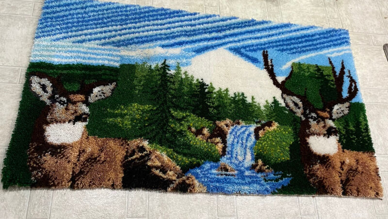 """Large Latch Hook Rug Completed Deer Buck Nature 60"""" x 33""""  Finished Handcrafted"""