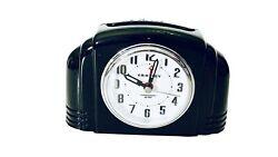 Vintage Black Portable Deco Bakelite Analog Alarm Clock Backlit Crosley 33388B