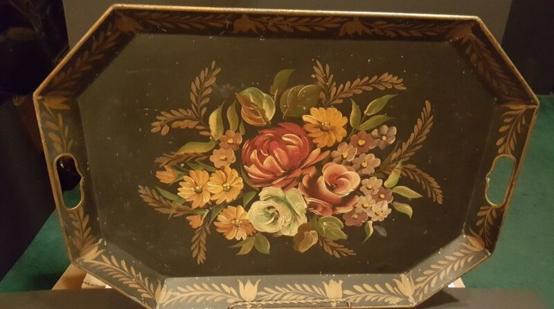 Antique Toleware Metal Tray Large Black Hand Painted Floral Handles Gold Trimmed