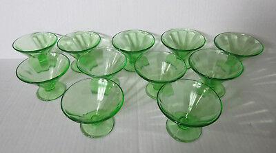 11 Vtg Depression Glass Green Dessert Cups Footed Pedestal Paneled Federal Glass