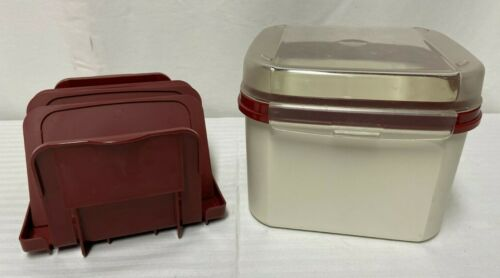 Tupperware Square 11 Cup Container 1620 With Burgandy Hinged Lid And Dividers