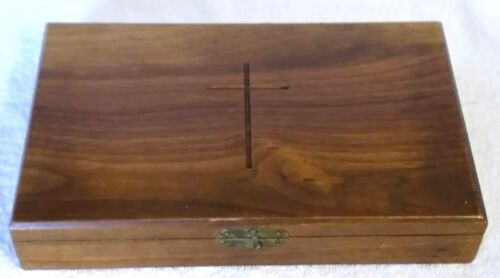 Vintage Sick Call Box Prayer Last Rites Cross Catholic Beeswax Candle Prayers