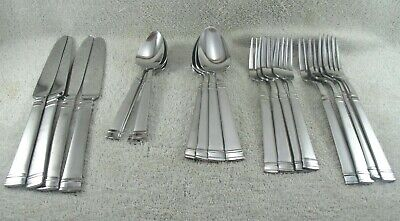RINGS FROST 20 Piece Service For 4 Cuisinart Stainless Flatware 18/0